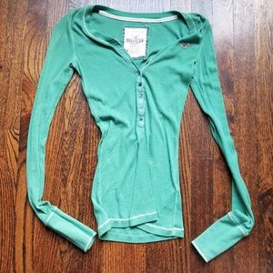 Green Hollister long sleeve ribbed shirt